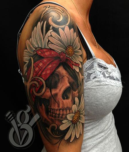 Pink Flowers And Skull Tattoos On Sleeve