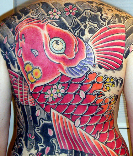 Pink Koi Fish Tattoo Designs For Girls On Back