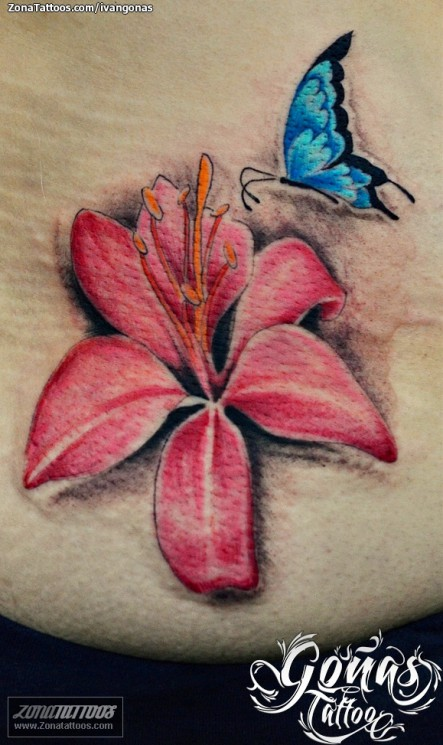 Pink Lily n Butterfly Tattoo Design