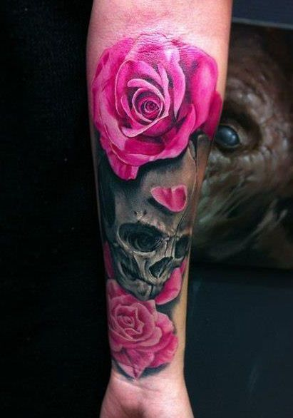 Pink Roses And Skull Tattoo