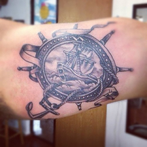 Pirate Ship Anchor Tattoo On Arm