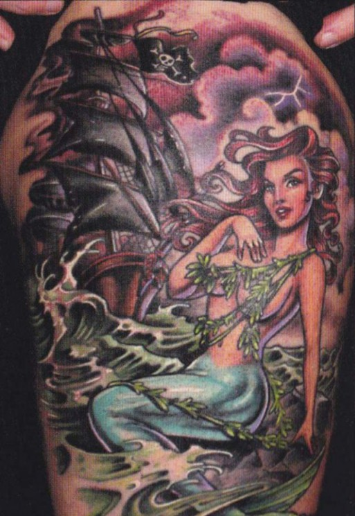 Pirate Ship And Mermaid Tattoo Design On Shoulder