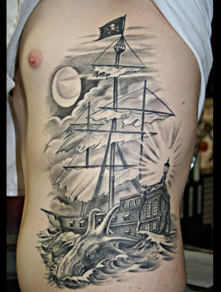 Pirate Ship And Octopus Tattoos