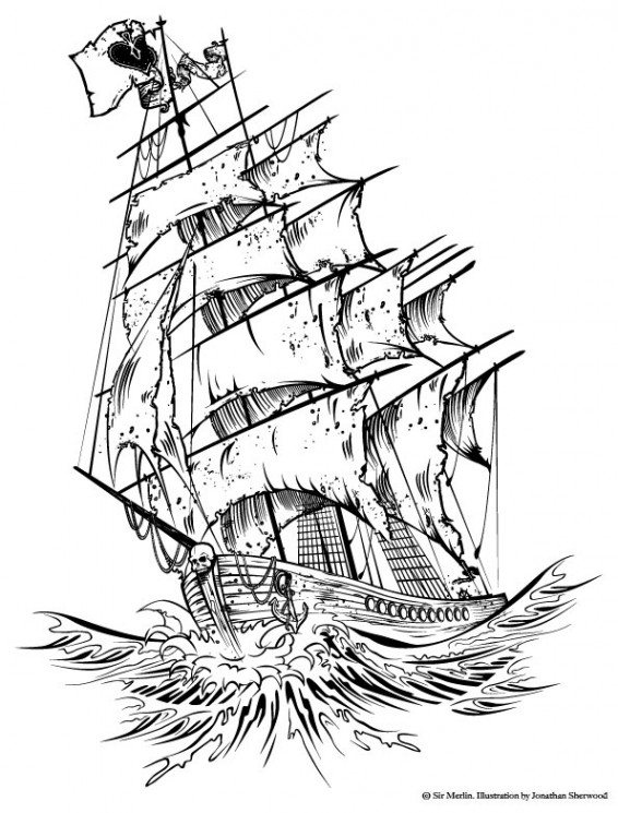 Pirate Ship And Waves Tattoos Sketch