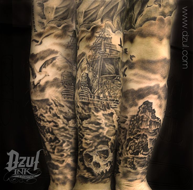 Pirate Ship Flag And Birds Tattoos On Upper Sleeve