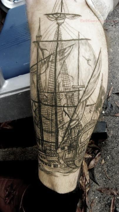 Grey Sinking Ship And Octopus Forearm Tattoos