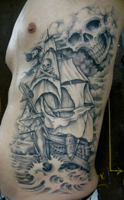 Pirate Ship Without Color Tattoo Designs