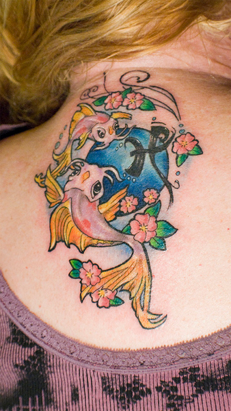 Pisces Fish Tattoo On Neck Back