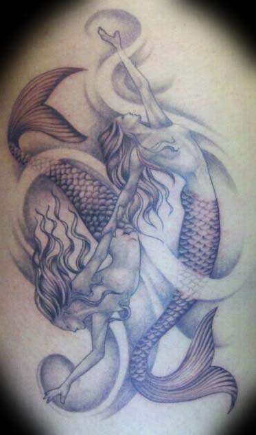 Pisces Mermaids Tattoos On Back