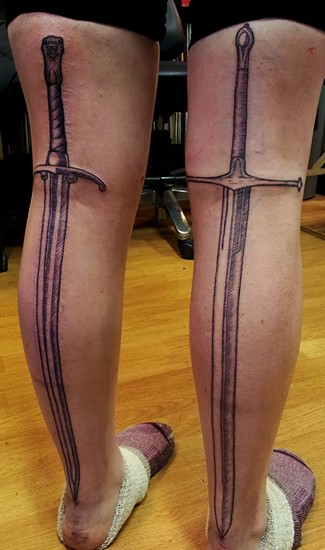 Plasma Sword Video Game Tattoo On Leg