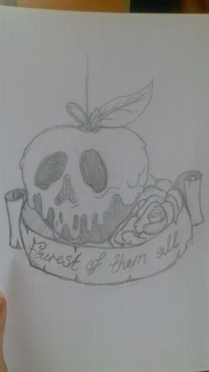 Poison Apple Tattoo Design With Banner