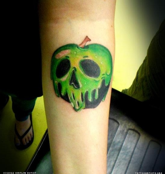 Poison Apple Tattoo Design With Leaves