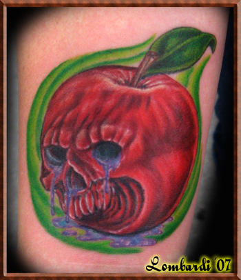 Poison Apple With Banner Tattoo Design