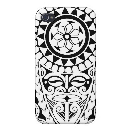 Polynesian Lizard And Mask Tattoo Design Iphone Case