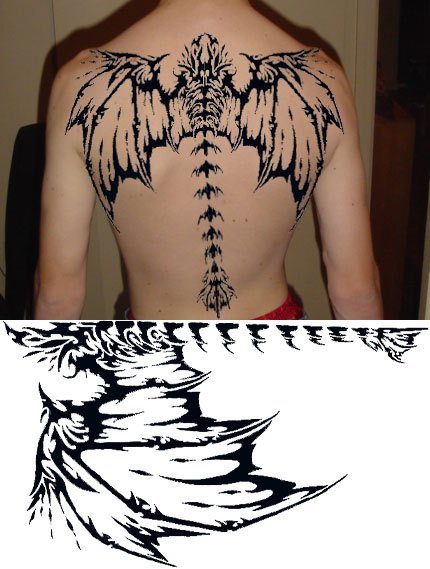 Polynesian Tattoo On The Backbody
