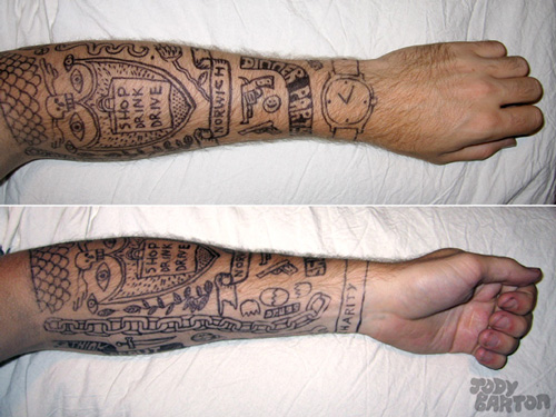 Popular Sports Shoes Tattoos On Arm