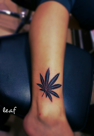 Pot Leaf Tattoo On Ankle For Girls