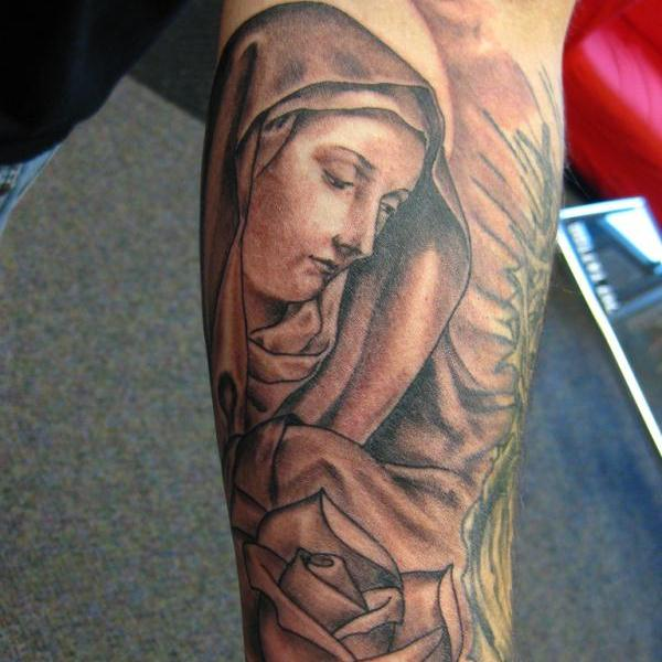 Praying Mother Mary Tattoo Sketch