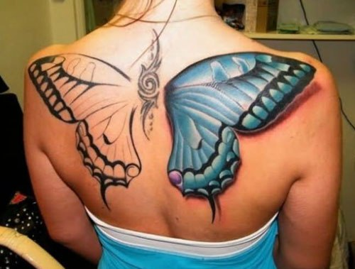 Pretty Blue 3D Butterly Tattoo On Shoulder