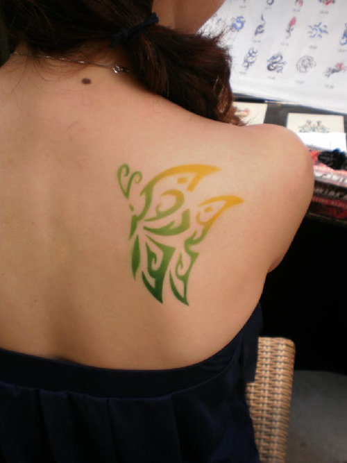 Pretty Colorful Neck Tattoo For Girls