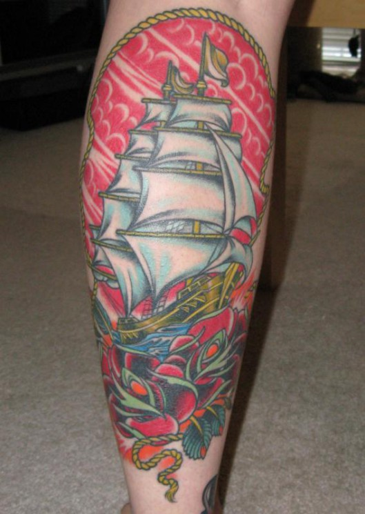 Pretty Colorful Ship Tattoos On Backside Of Legs