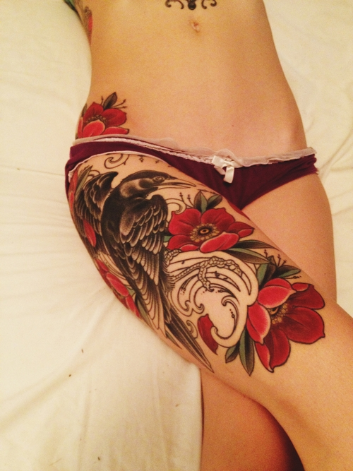 Pretty Crow Flowers And Book Tattoos On Leg