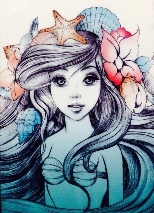 Pretty Little Mermaid Tattoo Design
