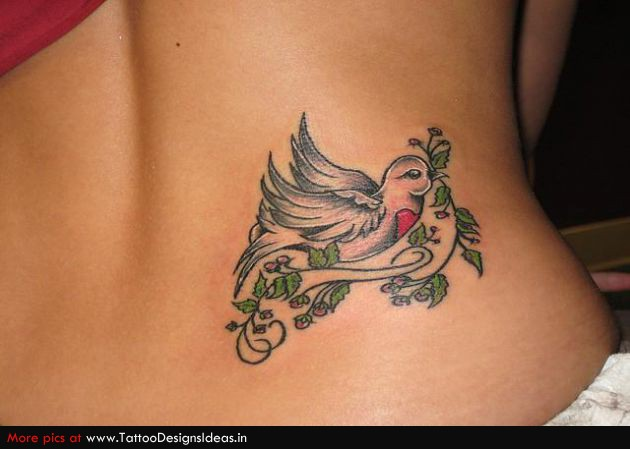 Pretty Pigeon With Green Vine Tattoo On Back Hip