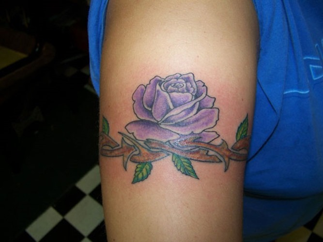 Pretty Rose Vine Tattoo As Wrist Band
