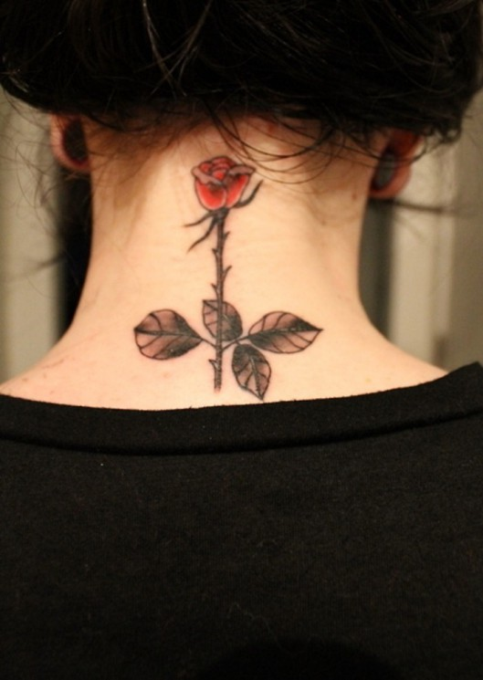 Pretty Rose With Banner Tattoos On Side Of Neck