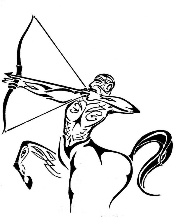 Pretty Sagittarius Arrow Tattoo On Upperback