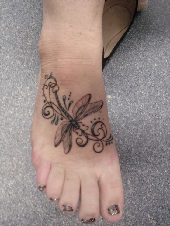 Pretty Watercolor Dragonfly Tattoo On Foot
