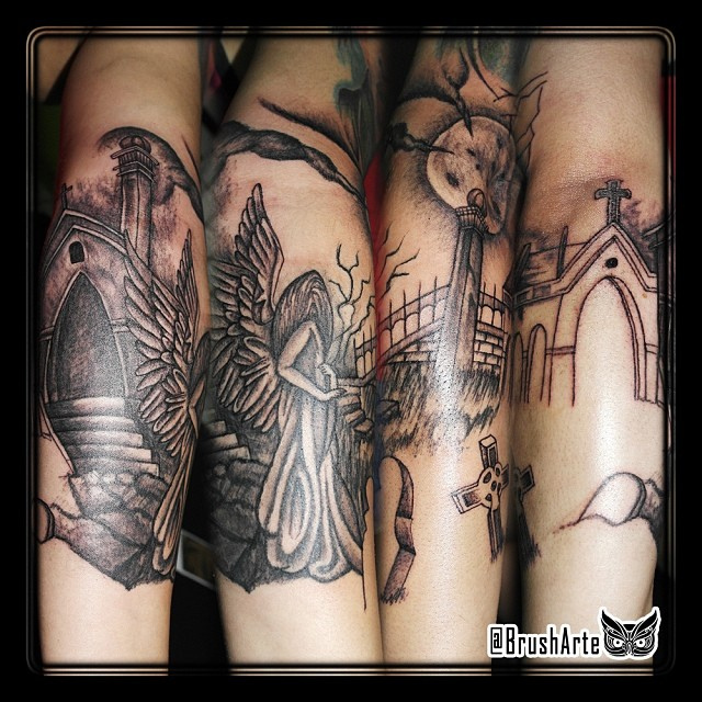 puppet hand cemetery graveyard tattoo design in 2017 real photo pictures images and sketches. Black Bedroom Furniture Sets. Home Design Ideas