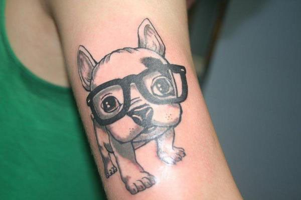 Puppy With Glasses Tattoo