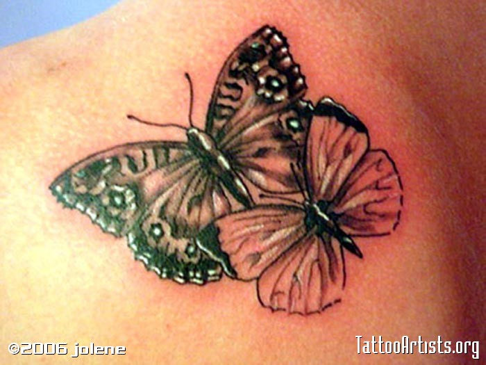 Purple Butterflies And Shaded Star Tattoos