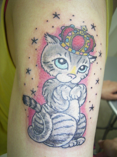Queen Cat Tattoo On Biceps