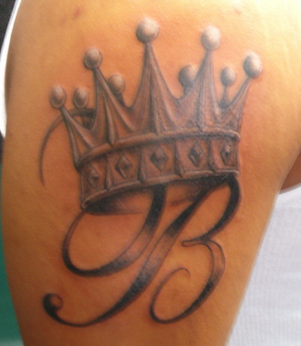 Queen Crown Tattoo On Back For Girls