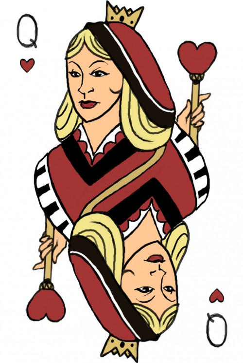 Queen Of Hearts And Red Lips Tattoos
