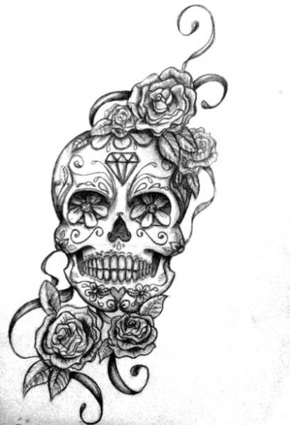 Queens Crown And Roses Tattoos Sketch