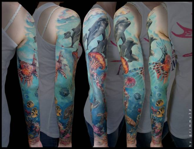 Rain Forest Ocean Sleeve Tattoos