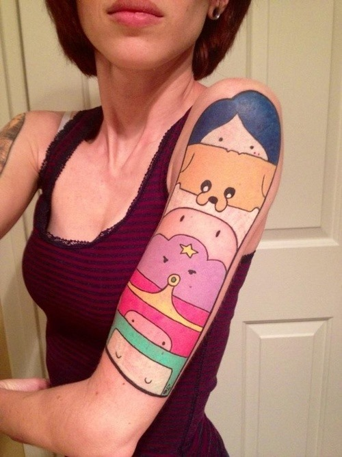 Rare Colorful Left Half Sleeve Tattoo For Women