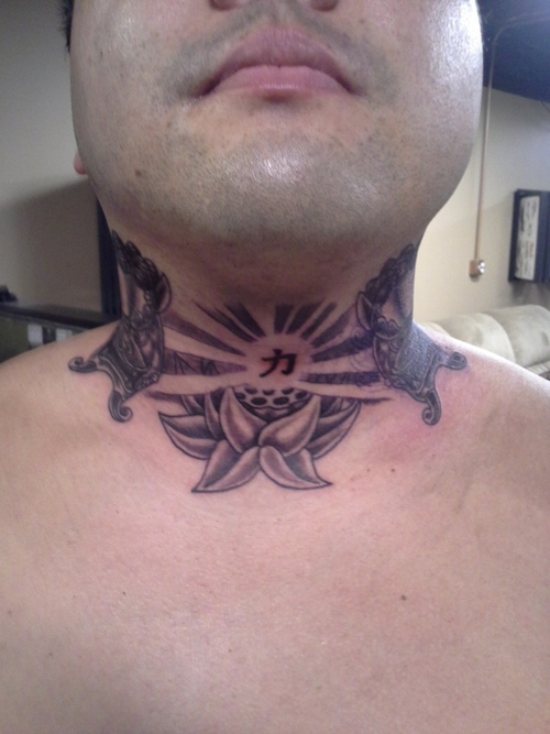 Rays Of The Rising Sun With Lotus Tattoos On Neck