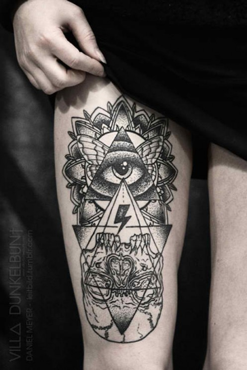 Rays Roses And All Seeing Eye Pyramid Tattoos