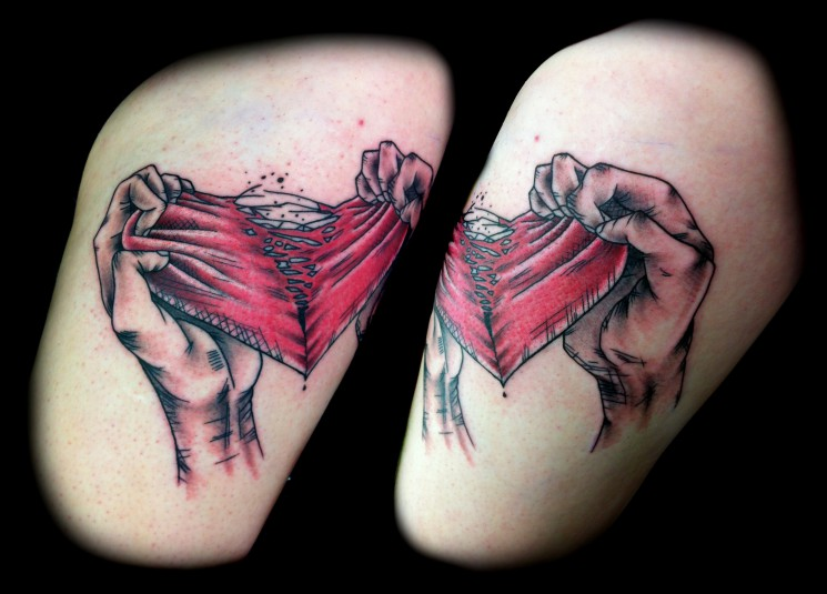 Real Heart Tattoo On  Thigh