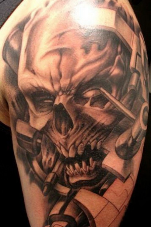 Real Looking Clock Skull Tattoo For Men