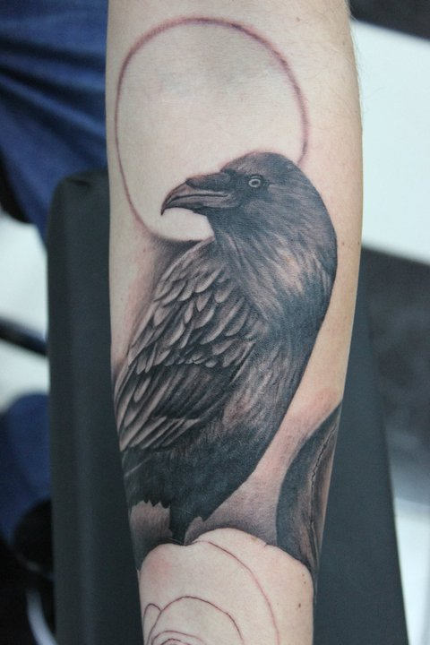 Real Looking Crow On Branch Tattoo On Arm