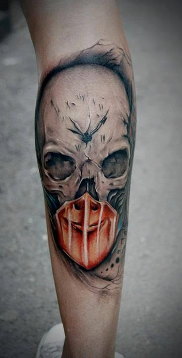 Realism Clock Skull Tattoo For Guys