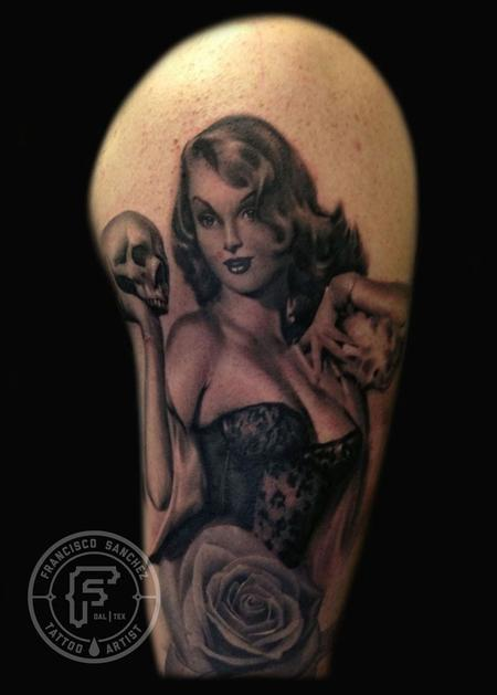 Realism Pin Up Girl Sitting Tattoo On Arm