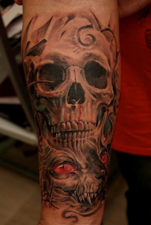 Realism Skull And Rose Forearm Tattoos