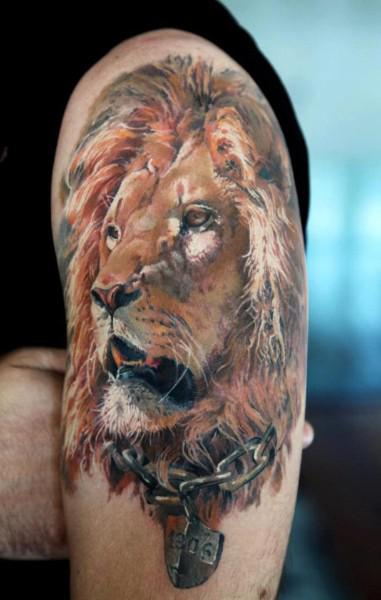 Realistic African Lion Tattoo On Arm